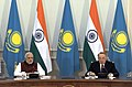 The Prime Minister, Shri Narendra Modi and the President of the Republic of Kazakhstan, Mr. Nursultan Nazarbayev during the Joint Press Statement, at Akorda President's Palace, in Astana, Kazakhstan on July 08, 2015 (1).jpg