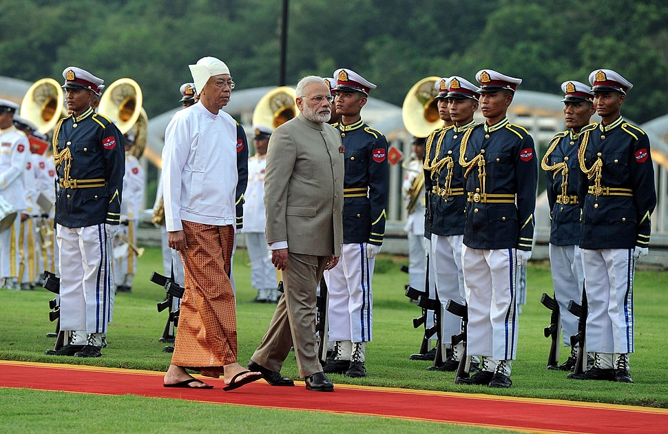The Prime Minister, Shri Narendra Modi inspecting the guard of honour, at the Ceremonial Reception, in Nay Pyi Taw, Myanmar on September 05, 2017. The President of Myanmar, Mr. U. Htin Kyaw is also seen (2)