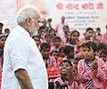 The Prime Minister, Shri Narendra Modi interacting with the children of a primary school, at Narur village, in Uttar Pradesh on September 17, 2018 (2).JPG