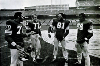 Purple People Eaters - The Purple People Eaters in January 1970 at Metropolitan Stadium. From left to right: Marshall, Larsen, Eller, and Page.