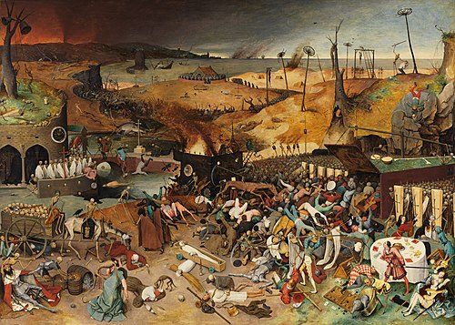 The Triumph of Death (c. 1562) by Pieter Brueghel the Elder reflects the increasingly harsh treatment the Seventeen Provinces received in the 16th century The Triumph of Death P001393.jpg