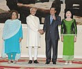 The Vice President, Shri Mohd. Hamid Ansari and Smt. Salma Ansasri with the Prime Minister of Cambodia, Mr. Hun Sen at the ceremonial reception, at Peace Palace, in Phonm Penh, Cambodia on September 16, 2015.jpg
