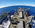 The dry cargo and ammunition ship USNS Cesar Chavez (T-AKE 14), right, conducts a replenishment at sea with the Australian frigate HMAS Toowoomba (FFH 156) in the U.S. 7th Fleet area of responsibility April 12 140412-N-ZZ999-020.jpg