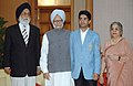 The first winner of an individual Gold Medal for India at the Beijing Olympic Games and International Shooting Ace, Shri Abhinav Bindra meeting with the Prime Minister, Dr. Manmohan Singh, in New Delhi on August 14, 2008.jpg