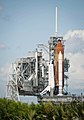 The space shuttle Endeavour is seen on launch pad 39a at Kennedy Space Center in Cape Canaveral, Fla, on May 15, 2011. Original from NASA . Digitally enhanced by rawpixel. (46300580892).jpg