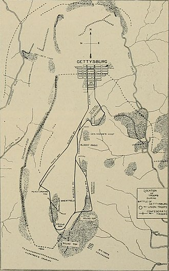 Gettysburg Electric Railway - Network map upon opening, as published in Oct.1893.