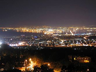 Panorama, Thessaloniki - Night view of central Thessaloniki from Panorama.