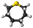 Ball-and-stick model of the thiepane molecule
