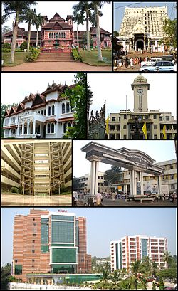 Frae top clockwise: Napier Museum, Padmanabhaswamy Temple, University of Kerala, Government Medical College, Kerala Institute of Medical Sciences, Bhavani biggin in Technopark an The Oriental Research Institute & Manuscripts Library
