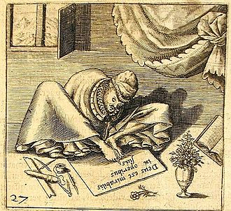 Mouth and foot painting - Self portrait by mouth and foot artist Thomas Schweicker (1540–1602)