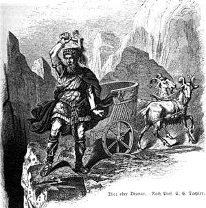 "Carl Emil Doepler - ""Thor oder Thunar"", one of Carl Emil Doepler's illustrations to Nordisch-germanische Götter und Helden."