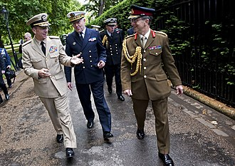 Chief of defence - Three CHODs leaving Lancaster House in London, 10 June 2011. L-R: U.S. Navy Adm. Michael Mullen, Chairman of the Joint Chiefs of Staff; French Navy Adm. Édouard Guillaud, Chief of Defence Staff; British Gen. Sir David Richards, Chief of Defence Staff.