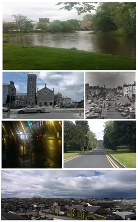 Clockwise from top: Mall River Walk, Cathedral of the Assumption, Thurles, Liberty Square Circa 1983, Liberty Square at night, St. Patrick's College, Thurles, and Northeast view of Thurles.