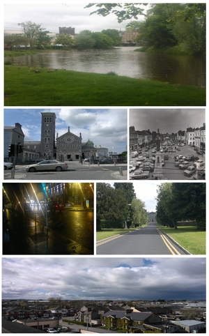 Thurles - Clockwise from top: Mall River Walk, Cathedral of the Assumption, Thurles, Liberty Square Circa 1983, Liberty Square at night, St. Patrick's College, Thurles, and Northeast view of Thurles.