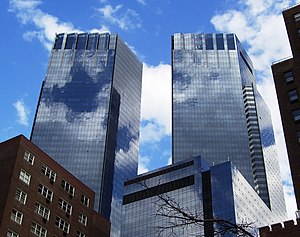 Time Warner Center - The top of the towers as seen from Tenth Avenue