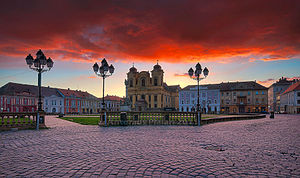 Danube–Criș–Mureș–Tisa Euroregion - Image: Timisoara Union Square at sunrise