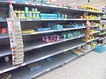 Tinned good stripped from the shelves during the 2020 Coronavirus pandemic, Morrisons, Wetherby (15th March 2020).jpg