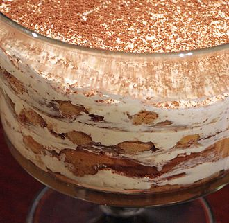 Tiramisu - Tiramisu in a large glass container