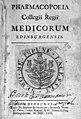 """Title page """"Pharmacopoeia Collegii Regii ..."""", 1722 Wellcome M0011897EA.jpg"""