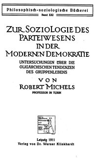 <i>Political Parties</i> 1911 social sciences book by Robert Michels
