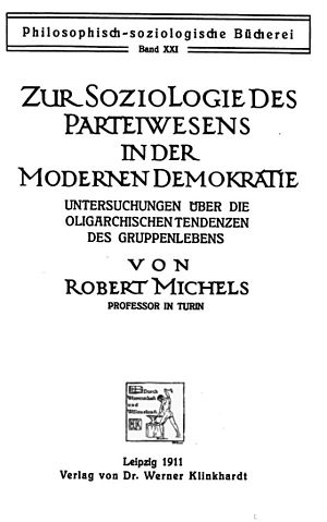 Political Parties (book) - Image: Title page of Political Parties by Robert Michels