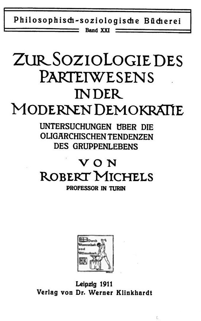 Title page of Political Parties by Robert Michels