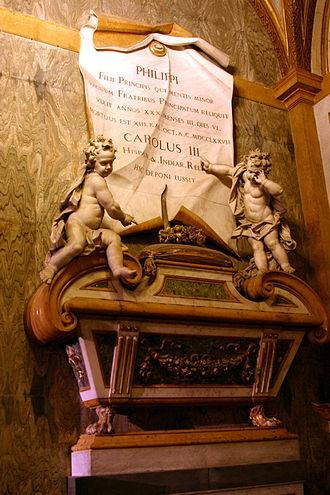 Infante Philip, Duke of Calabria - Tomb of Philip in Basilica of Santa Chiara.