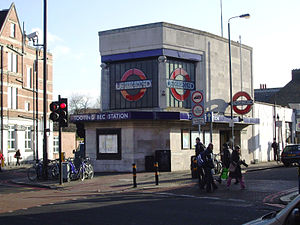 Tooting Bec tube station - The narrow satellite building on the east side of the junction, which provides a pedestrian subway access to the main station premises.