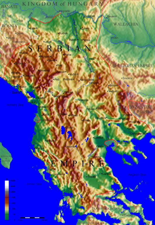 Filetopographic Map Of The Serbian Empire By User