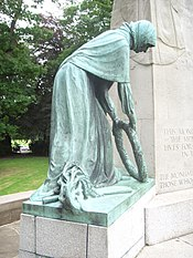 Towneley Park War Memorial. Burnley. Bronze Left Figure. Mother of the Fallen. 1926.JPG
