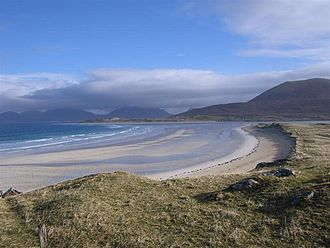Geography of Scotland - Large parts of the Scottish coastline are dune pasture, such as here at Traigh Seilebost on the Isle of Harris.
