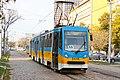 Tram in Sofia near Russian monument 032.jpg