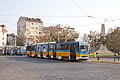 Tram in Sofia near Russian monument 070.jpg