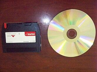 Travan - A Travan tape cartridge shown next to a CD-R disc.
