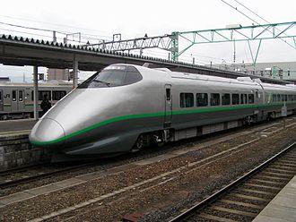 400 Series Shinkansen - A 400 series train on a Tsubasa service at Yonezawa Station in March 2005