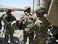 U.S. Army Spc. Jaime Baquero, combat engineer with the 1014th Engineer Company (Sapper), acts as a litter patient while fellow Soldiers extract him from a mine-resistant, ambush-protected vehicle during casualty 110708-A-AD848-109.jpg