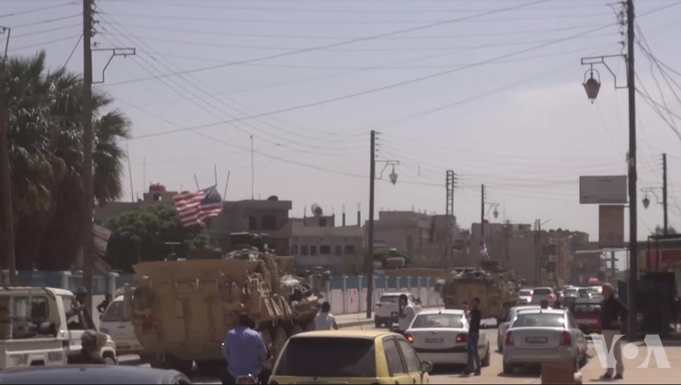 U.S. LAVs Driving Through Syria Streets