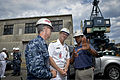 U.S. Navy Chief of Naval Operations Adm. Jonathan W. Greenert, center, listens to a an engineer while he gives a status brief on the aircraft carrier USS Ronald Reagan (CVN 76) during a tour at the Puget Sound 120806-N-WL435-694.jpg