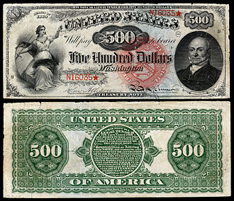 Large denominations of United States currency - Image: US $500 LT 1869 Fr 184
