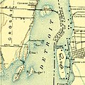 USGS topographic map, Michigan, Wyandotte quadrangle (278613), 1906, 1-62500 (cropped to Fox and Powder House Islands).jpg
