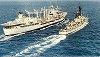 USNS Mississinewa (T-AO-144) refueling USS Forrest Sherman (DD-931), circa in 1980.jpg