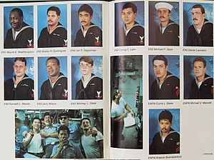 USS Callaghan (DDG-994) - A page of a cruise book from 1987, showing sailors of Callaghan at that time.