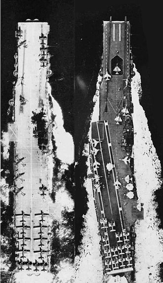 USS Intrepid (CV-11) - Top views of USS Intrepid after SCB-27C (left) and SCB-125 (right).