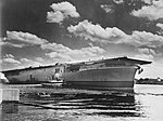 USS Wasp (CV-18) after her launch at the Fore River Shipyard on 17 August 1943 (38330007).jpg