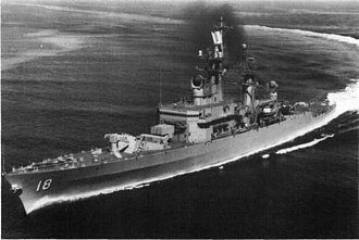 Leahy-class cruiser - Image: USS Worden (DLG 18) underway at high speed, in the 1960s