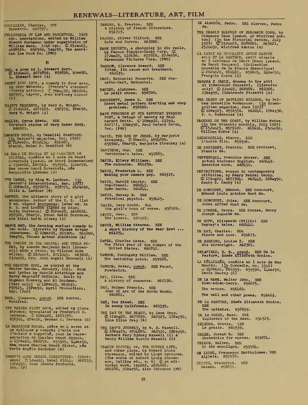 Page:US Copyright Office - Renewal Registrations - 1950.djvu/27 ...