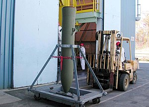 Thermobaric weapon - US Navy BLU-118B being prepared for shipping for use in Afghanistan, 5 March 2002