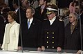 US Navy 050120-F-3231D-332 President George W. Bush, Chief of Naval Operations, Adm. Vern Clark and Secretary of the Navy, Gordon R. England, observe the pass and review during the 2005 Presidential Inaugural Parade held in Was.jpg