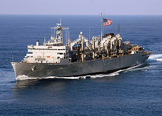 Supply-class fast combat support ship - Image: US Navy 060507 N 7748K 015 The Military Sealift Command (MSC) fast combat support ship USNS Supply (T AOE 6) sails through the Atlantic Ocean in formation with the Enterprise Carrier Strike group (CSG)