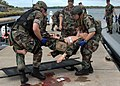 US Navy 080723-N-6208N-067 Sailors assigned to Maritime Expeditionary Squadron Nine (MESRON 9) lift a mock casualty onto a litter during a mass casualty exercise at Ford Island.jpg